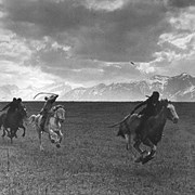 Cover image of [Indians horse racing at Morley, Alberta]