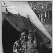 Cover image of The Indian Madonna [Stoney mother, Gussie Abraham with child at Kootenay Plains, Gussie was also known as Mrs. Silas Abraham]