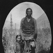 Cover image of [Stoney Indian and child at Kootenay Plains, Alberta(?)]