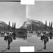 Cover image of Mixed hockey on the Bow River at Banff