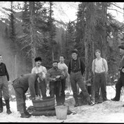 Cover image of Eau Claire logging crew washing up