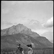 Cover image of Mrs. Elliott Barnes, Elliott Jr. and Robert Barnes on Tunnel Mountain