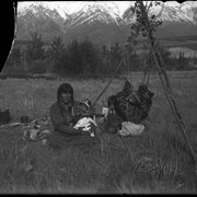 Cover image of Indian mother and child at Kootenay Plains possibly Mrs. Silas Abraham