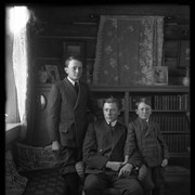 Cover image of Elliott Jr., Robert and Findlay Barnes at Jumping Pound homestead, portrait