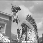 Cover image of George Kaquitts on horseback, Banff Indian Days parade
