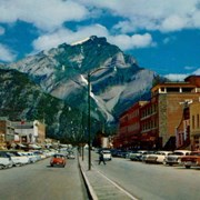 Cover image of Banff Avenue, Banff, and Cascade Mtn (alt. 9,836 feet), Banff National Park, Canadian Rockies