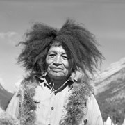 "Cover image of Hansen Bearspaw, ""Indian Days clown"" wearing buffalo mane wig, always making jokes and songs"