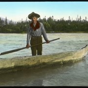 Cover image of At the Fraser in 1908 [Unidentifed man in dugout canoe]