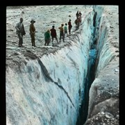 Cover image of [Group of climbers from Alpine Club of Canada camp looking at crevasse]