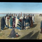 Cover image of [Painting with group of First Nations gathered together for ceremony? game?]