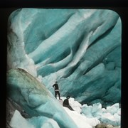 Cover image of Looking into the green cravases [crevasses] of a glacier at its snout
