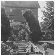 Cover image of Lady Barnard, wife of Lieutenant Governor of B. C., in the old English sunken gardens of the Government House / 27831