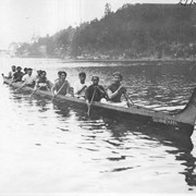 Cover image of Victoria. Cowichan Indians and their war canoes in which they hold annual races between the 6 different tribes. The canoes are made of a single cedar log and are thrown away after each race / 27759