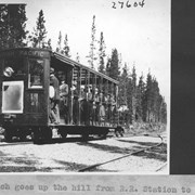 Cover image of Trolley which goes up the hill from R. R. station to Hotel Lake Louise. Has a Rolls Royce auto engine / 27604
