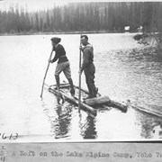 Cover image of A raft on the lake, Alpine Camp, Yoho Valley / 27613