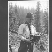 Cover image of A. 0. Wheeler, head of Alpine Club & camera used for mapping work in mountains by Canadian Government / 27665