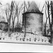 Cover image of Canada. Quebec Province. Sturdy stone towers built for defence against the Indians in Ville Marie's early days, standing in grounds of Montreal Seminary, Sherbrooke Street West. In one tower the pioneer nuns lived, in the other they taught the children of the settlement / CN64