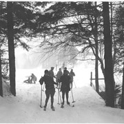 Cover image of Canada. Montreal, Quebec. Ski enthusiasts enjoying the sport on the slopes of Mt. Royal / CN40