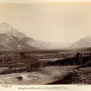 Cover image of Cascade Mt. 9580 ft. View from Sulphur Spring showing Banff Village, Inglismaldie Mt.
