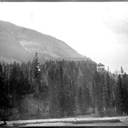 Cover image of Banff Hotel from the wagon road below the falls (No.23). 7/5/94