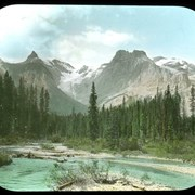 Cover image of Mountains from ford on trail to Emerald Lake. Field. (No.133) 8/3/97