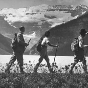 Cover image of [Swiss Guide leading hikers at] Lake Louise