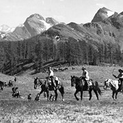 Cover image of Trail Riders on Gibbon Pass [Banff National Park] named after the author (at the suggestion of Jim Brewster who accompanied the author over it)