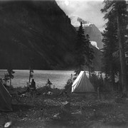 Cover image of Dr. Charles and Mary T.S. Schaffer's camp at Lake Louise