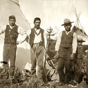 Cover image of Adolphus Moberly, left, with other members of his half breed band