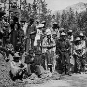 Cover image of First Indian Days at Banff [Chief Hector Crawler and Tom Wilson front centre]