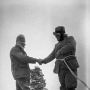 Cover image of Edward Feuz (left) and Col. Amery on summit during first ascent of Mount Amery