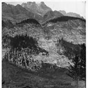 Cover image of First House at Banff 1883 Spring - Photo by H.G. Parson, Owned by Byron Harmon, Brother of Old Ben Woodworth, Fulmer Brother, H.C. Parson - Stayed one Winter