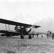 Cover image of First plane to land at Canmore - possibly Fred McCall - war ace World War I - McCall field at Calgary named after him