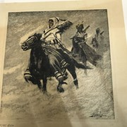 Cover image of Untitled (Three Indians on Horseback in Snowstorm)