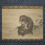 Cover image of Untitled Scroll [Mother and Child Monkeys]